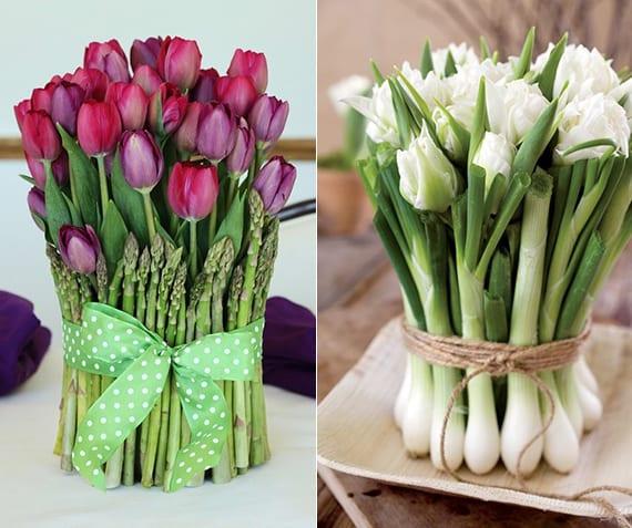 kreative Frühlingsdeko mit Blumenstrauß aus tulpen und spargeln und weißen tulpen und frühlingszwiebel