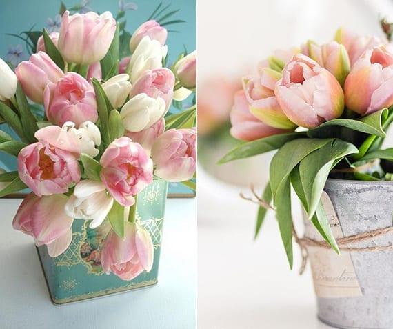 coole dekoideen mit tulpen als passende Tischdeko im frühling