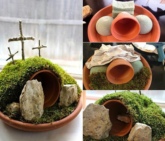 tischdeko idee mit diy ostergarten aus blumentopf, schaum und moos