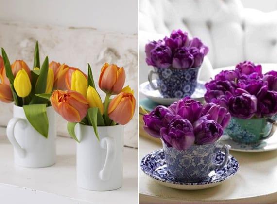 coole blumendeko ideen mit orangen und gelben tulpen in weißen keramiktassen und lilafarbigen tulpen in blauen przellantassen