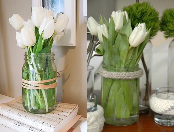 coole blumendeko im frühling mit weißwn tulpen im glas