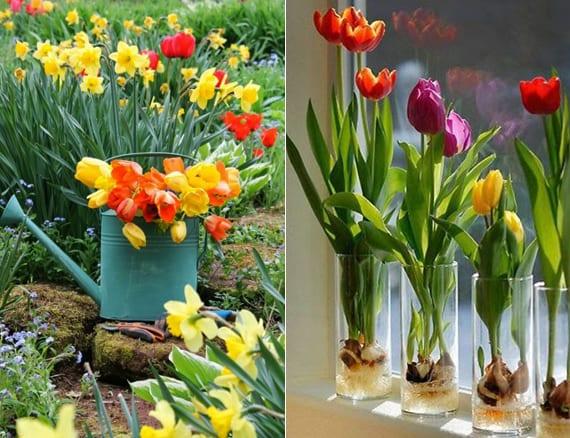 kreative ideen für blumendekoration mit tulpen