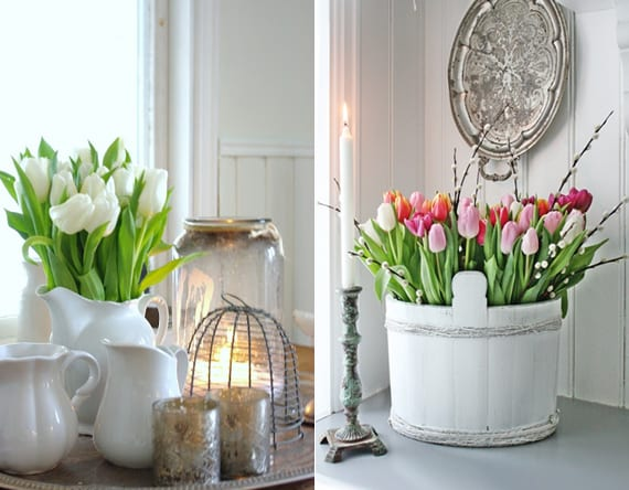 rustikale blumendekoideen mit tulpen
