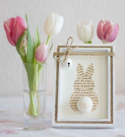 einfache osterdeko mit osterhase aus papier in bilderrahmen selber basteln