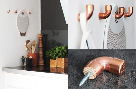 kreative idee für aufbewahrung in der küche mittels DIY Wandhaken aus kupfer