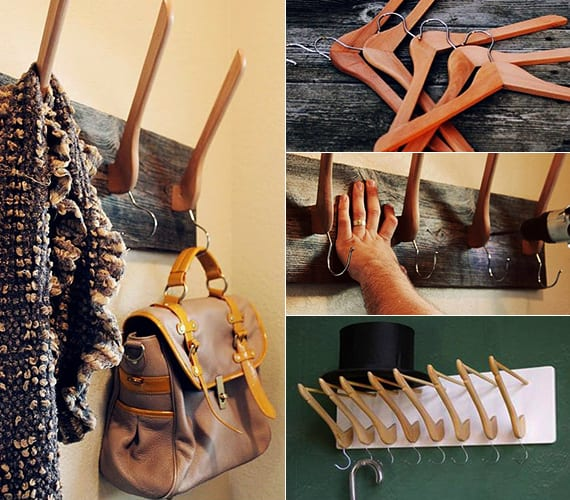kreative ideen für gestaltung im flur mit diy Leiste mit Hacken aus Holzbrett und Kleiderbügeln