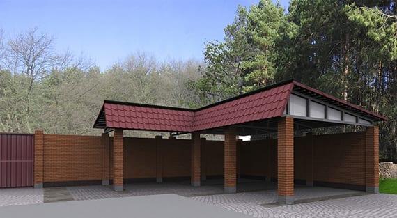 eck-carport für mehrere Autos bauen mit einem satteldach