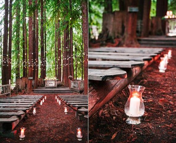 die hochzeitlocation im Wald einfach dekorieren mit Kerzen
