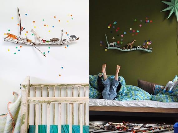 coole wandgestaltung kinderzimmer mit zweig, bunten punkten und tierspielzeigen