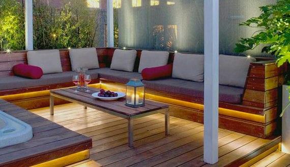 einrichten von einem privaten cafe auf der terrasse mit lounge unter baldachin freshouse. Black Bedroom Furniture Sets. Home Design Ideas