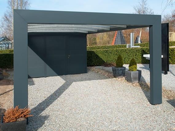 ein moderner carport mit gewäbten dachbalken und abstellraum selber bauen aus stahl