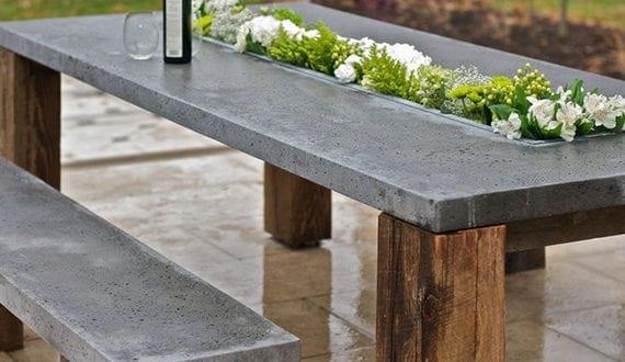 moderne und inspirierende gartendeko aus beton diy esstisch und sitzbank f r den garten freshouse. Black Bedroom Furniture Sets. Home Design Ideas