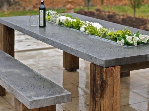 kreative bastelidee für DIY Gartenmöbel aus Holz und beton