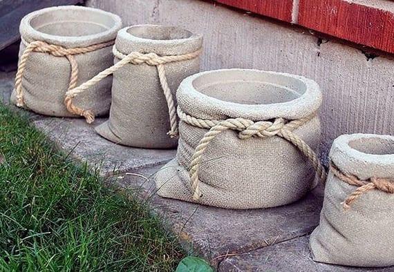 garten dekorieren mit diy pflanzenkübel aus beton