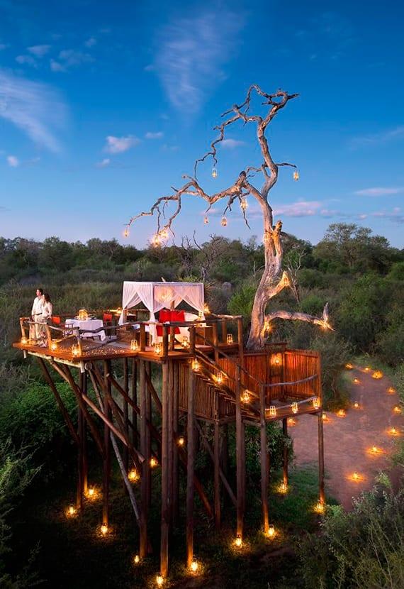 romantische unterkuft mit himmelbett auf offener Holzterrasse auf Baum