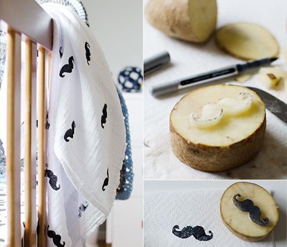 weiße textilien mit schwarzem Schnurrbart-Muster bedrucken