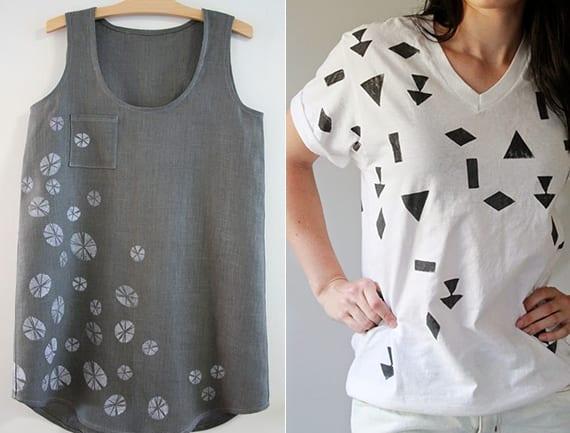 blusen und shirts neu gestalten mit farbe und einem selbstgemaachten stempel