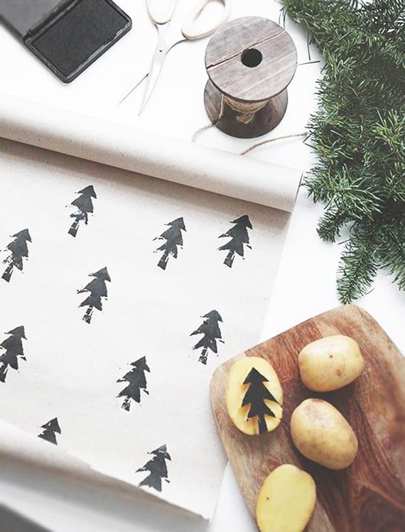 geschenkpapier selber basteln mit kartoffeldruck