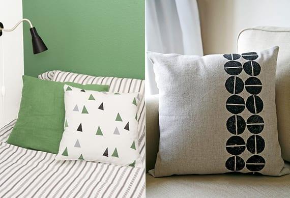 coole dekoideen mit kissen und einem diy kissenbezug_soffa und bett modern dekorieren