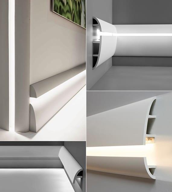 coole Ideen für Beleuchtung und Wandgestaltung mit weißen Lichtleisten aus Polyurethan