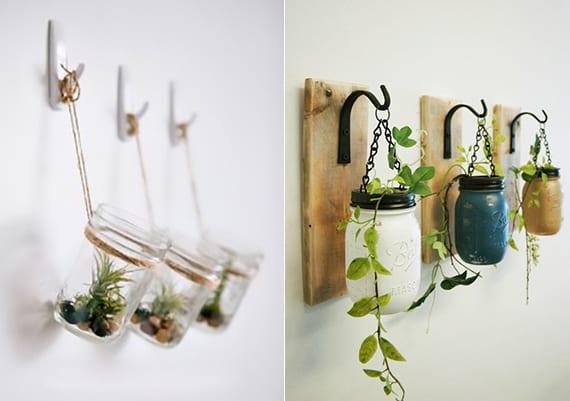 wände dekorieren mit pflanzen in hängenden einmachgläsern
