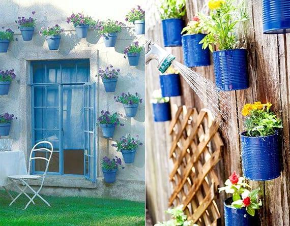 coole wandgestaltung garten mit blauen blümentöpfen