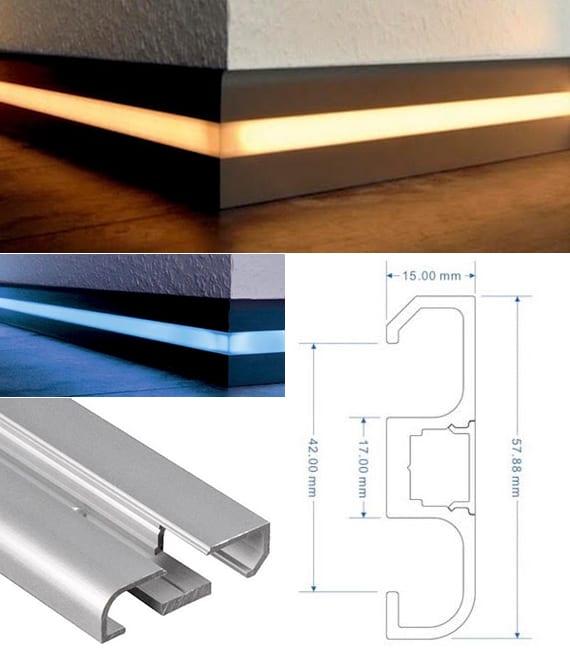 kreative lichtkonzepte mit wandbündigen LED Fußleisten in schwarz für stimmungsvolle Raumbeleuchting in verschiedenen Farben