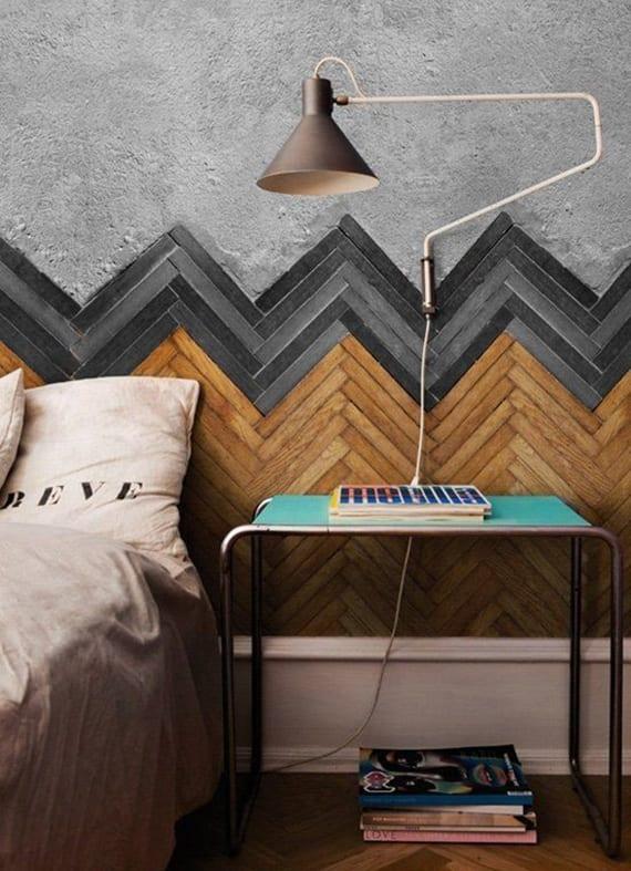 passende für schlafzimmer farben und materialien_kreative wandgestaltung und idee für DIY bettkopfteil mit Parkett in grauschwarz und Zement