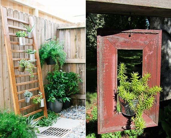 garten kreativ dekorieren mit hängenden Balkonpflanzen in metall-blumentöpfen