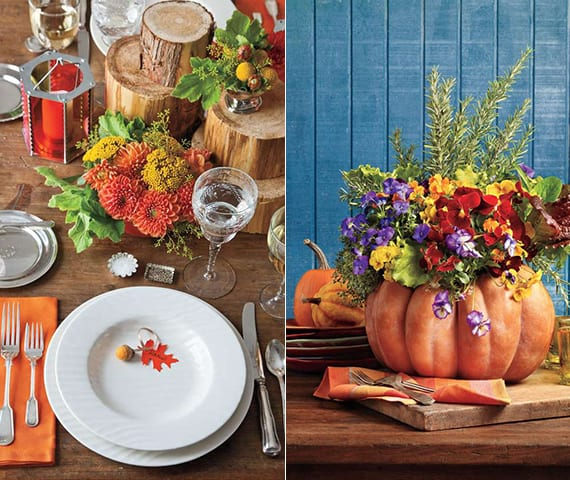 diy herbstdeko für tischdekoration mit Kürbis-Vase, Veilchen, Baumstammen und platzteller deko mit eicheln und namenschild