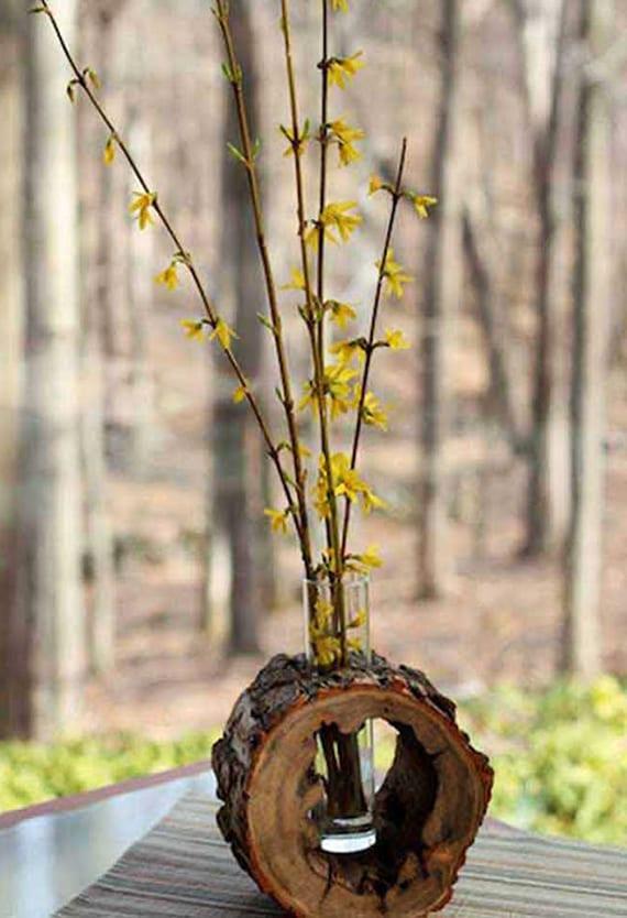 interessante holzdeko mit dekorativer vase zum selber basteln aus holz