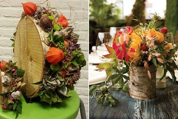 herbstliche tischdeko mit diy vase aus baumstamm, nadelzapfen, lampionblume, herbstblumen und grünen blättern