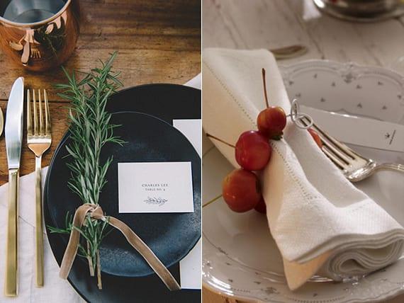 tisch und platzteller herbstlich dekorieren_schwarze teller mit rosmarin halme und weißer platzkarte oder weiße teller mit weißen servietten und herbstbeeren-Ring
