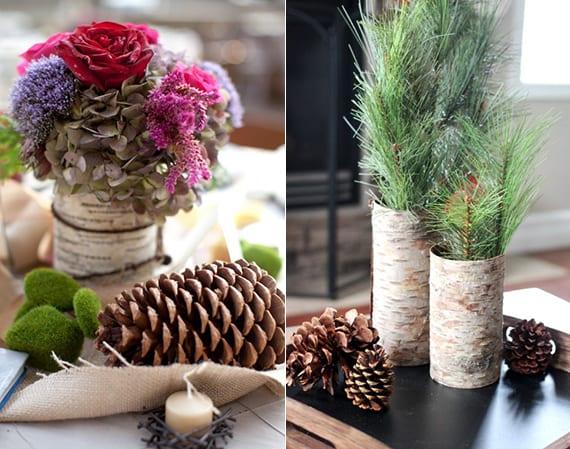 elegante Tischdeko Ideen mit zapfen, DIY Vase aus Borke, Moossteinen, Herbstblumen und Nadelbaumzweigen