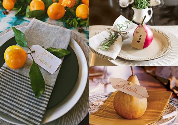 originelle tischdekoration und servietten faltideen mit orange und birne als tischkarte im teller