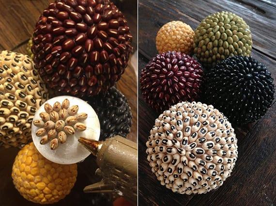 DIY dekoration mit bunten bohnenbällen aus schaumkugeln und verschiedenen bohnen