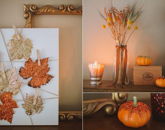 kamin herbstlich dekorieren mit antikem bilderrahmen gold, kleinen kürbissen und weißem leinwand mit glitzernden Blättern in gold und orange
