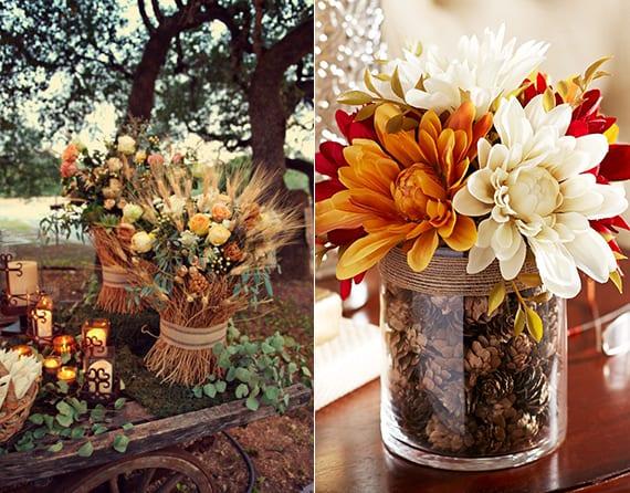 rustikale herbstdeko für draußen und innen mit Dahlien und nadelbaumzapfen oder mit blumenstrauß aus rosen und weizen