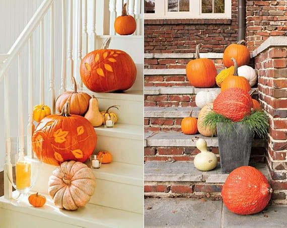 tolle dekoideen für treppe mit kleinen und großen kürbissen