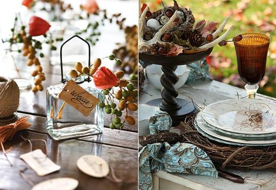 herbstliche tischdeko mit Berberitze und Lampionblume_platzteller deko mit DIY Kranz aus zweigen und tischdeko mit zapfen, herbstblättern, eicheln und hörnern