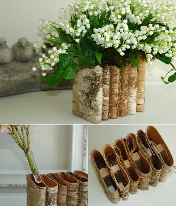 coole bastelidee für kreative vase aus borke und tolle idee für frühlingsdekoration