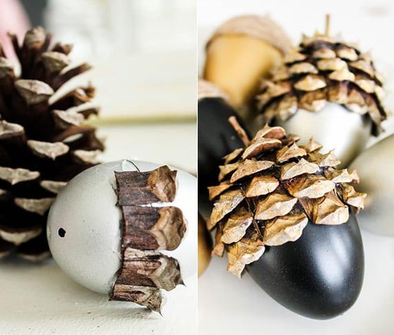 kreative bastelidee mit nadelbaumzapfen für originelle Herbstdeko mit farbigen DIY Eicheln und Zapfen aus künstlichen Ostereiern