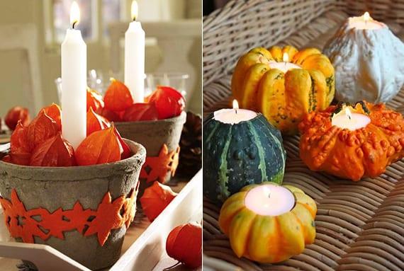 coole deko im herbst mit weißen kerzen und Lampionblume in Blumentöpfen aus Beton oder tischdeko mit selbstgemachten kürbis-teelichthaltern in weidenkorb