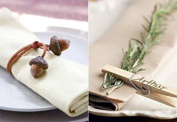 stoffservieten originell falten mit einem DIY Serviettenring aus eicheln oder mit einem Halm Rosmarin und Wäscheklammer