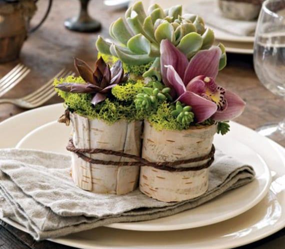 originelle platzteller deko mit Moos, Saftpflanzen und Blüten in kleinen DIY Holzvasen