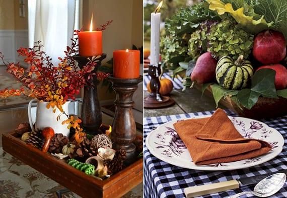 herbstliche tischdeko ideen mit Holzkiste voller herbstfrüchte, zapfen und grün