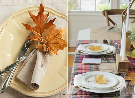 herbst tischdekoration mit orangen baumblättern als diy serviettenring oder als platzteller deko