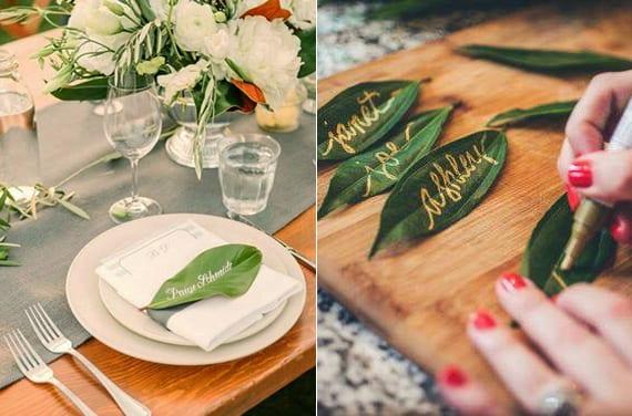 originelle teller dekoration mit serviettentasche für menükarte und diy namenschild aus grünem blatt
