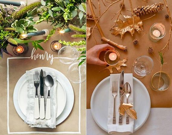 tischdeko herbst mit altpapier-tischdecke, teelichtern, grünen wildpflanzen oder goldenen zweigen, blättern und nadelbaumzapfen