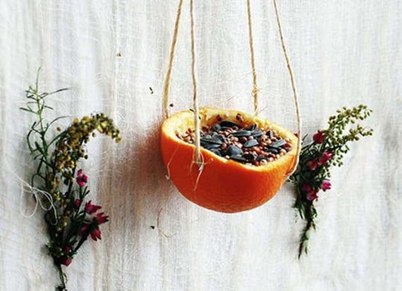 einfache bastelidee für DIY vogelfutterstelle aus hängender orangenschale voll mit vogelfutter